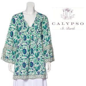 Calypso St. Barth Sepela Linen Shamrock Tunic Top